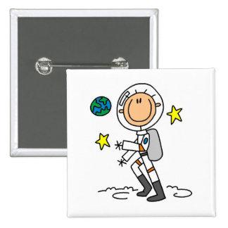 Camisetas y regalos básicos del astronauta pin cuadrado