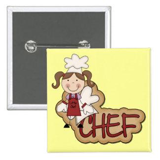 Camisetas y regalos blancos del cocinero del chica pins