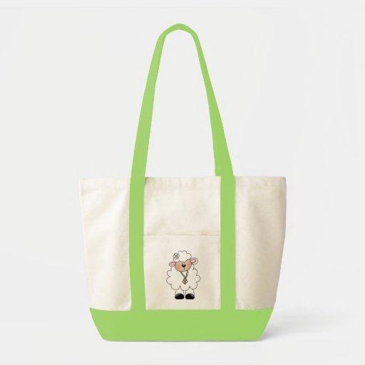 Camisetas y regalos blancos del cordero bolsas lienzo