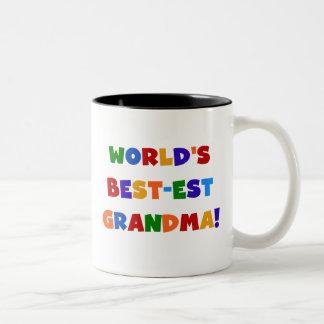 Camisetas y regalos brillantes de la abuela del taza de café de dos colores