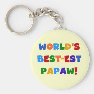 Camisetas y regalos brillantes del Papaw del Mejor Llavero Redondo Tipo Pin