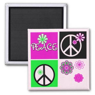 Camisetas y regalos calientes de la paz de los col imán cuadrado