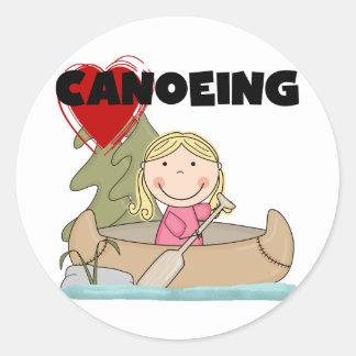 Camisetas y regalos Canoeing del corazón Pegatina Redonda