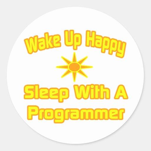 Camisetas y regalos chistosos del programador pegatina redonda