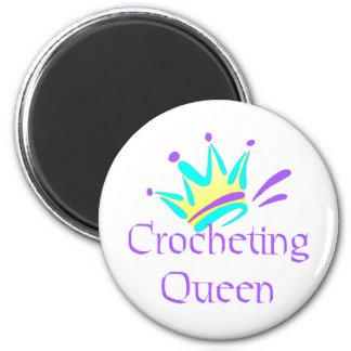 Camisetas y regalos Crocheting de la reina Imán Redondo 5 Cm
