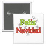 Camisetas y regalos de Feliz Navidad Pin Cuadrada 5 Cm