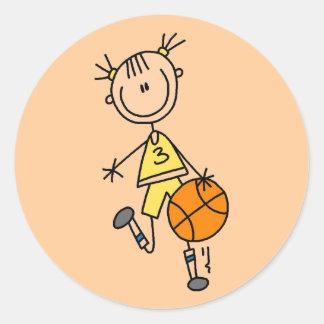 Camisetas y regalos de goteo del baloncesto del pegatina redonda