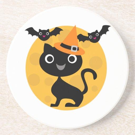 Camisetas y regalos de Halloween del gato y de los Posavasos Personalizados
