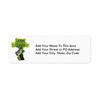 Camisetas y regalos de Hugger del árbol de la rana Etiqueta De Remite