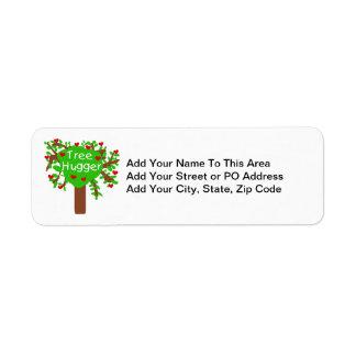 Camisetas y regalos de Hugger del árbol Etiqueta De Remite