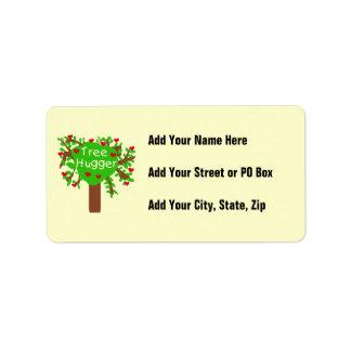Camisetas y regalos de Hugger del árbol Etiqueta De Dirección