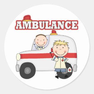 Camisetas y regalos de la ambulancia pegatina redonda