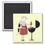 Camisetas y regalos de la barbacoa de la vaca iman para frigorífico