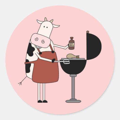 Camisetas y regalos de la barbacoa de la vaca pegatinas redondas