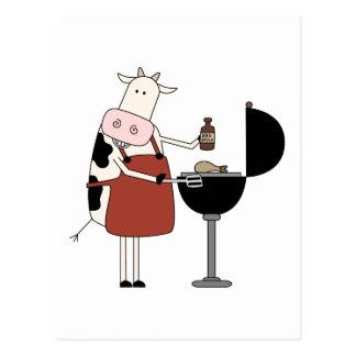 Camisetas y regalos de la barbacoa de la vaca tarjeta postal