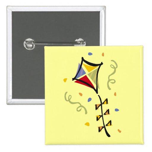 Camisetas y regalos de la cometa pin cuadrado