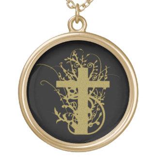 Camisetas y regalos de la cruz del oro del Grunge Colgante Redondo