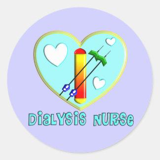 Camisetas y regalos de la enfermera de la diálisis etiquetas redondas