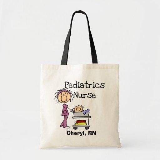 Camisetas y regalos de la enfermera de la pediatrí bolsas lienzo