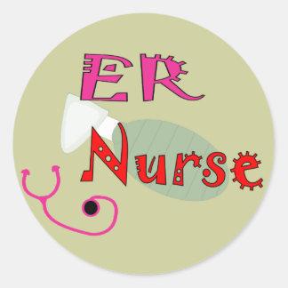 Camisetas y regalos de la enfermera del ER Pegatinas Redondas