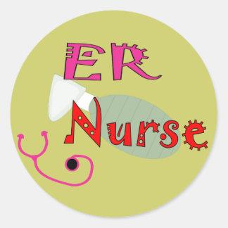 Camisetas y regalos de la enfermera del ER Etiqueta Redonda