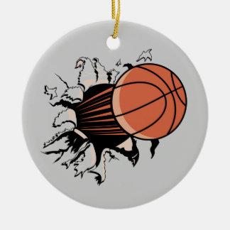 Camisetas y regalos de la explosión del baloncesto adorno navideño redondo de cerámica