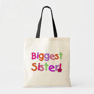 Camisetas y regalos de la hermana más grande bolsa tela barata