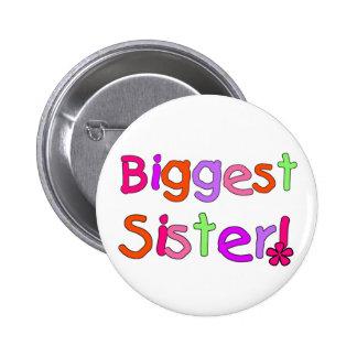 Camisetas y regalos de la hermana más grande pin redondo de 2 pulgadas