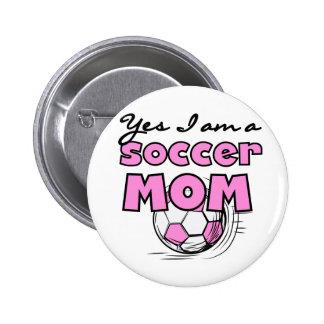 Camisetas y regalos de la mamá del fútbol pin redondo 5 cm