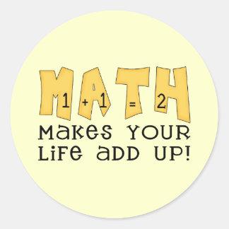 Camisetas y regalos de la matemáticas pegatina redonda
