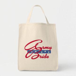 Camisetas y regalos de la novia del ejército bolsa tela para la compra