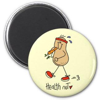 Camisetas y regalos de la nuez de la salud imán redondo 5 cm