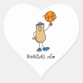 Camisetas y regalos de la nuez del baloncesto pegatina corazon personalizadas