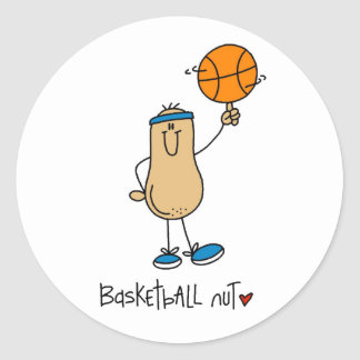 Camisetas y regalos de la nuez del baloncesto pegatina redonda