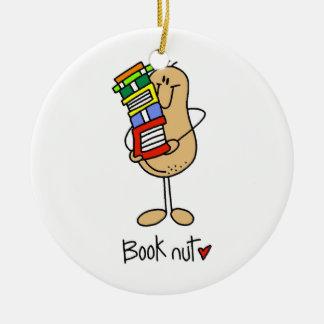 Camisetas y regalos de la nuez del libro adorno redondo de cerámica
