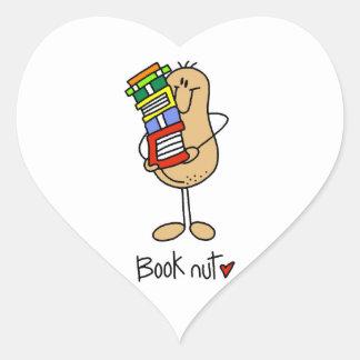 Camisetas y regalos de la nuez del libro pegatina en forma de corazón