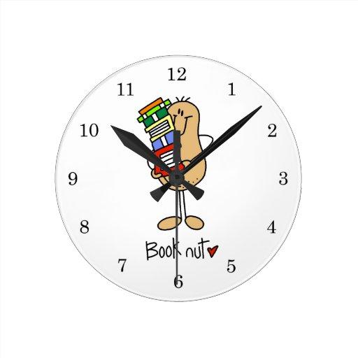 Camisetas y regalos de la nuez del libro reloj de pared