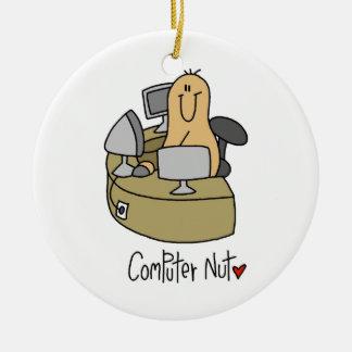 Camisetas y regalos de la nuez del ordenador adorno navideño redondo de cerámica