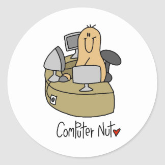 Camisetas y regalos de la nuez del ordenador pegatina redonda