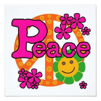 """camisetas y regalos de la paz del estilo 60s invitación 5.25"""" x 5.25"""""""