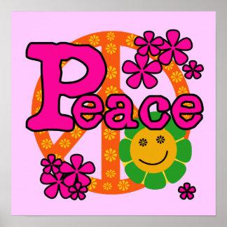 camisetas y regalos de la paz del estilo 60s póster
