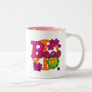 camisetas y regalos de la paz del estilo 60s taza de café de dos colores