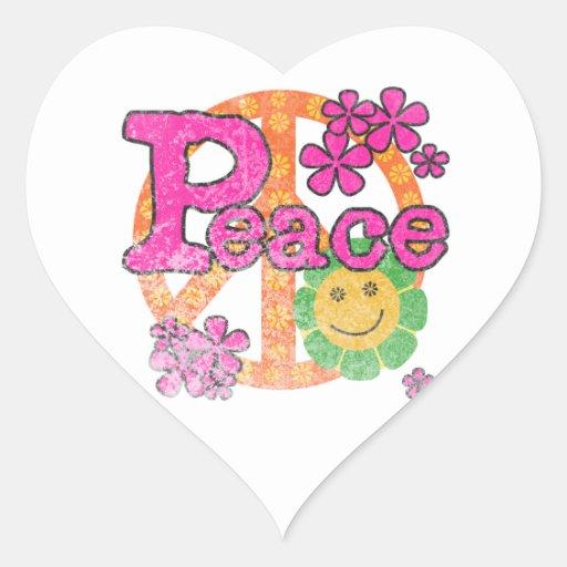 Camisetas y regalos de la paz del vintage pegatina de corazón