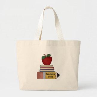 Camisetas y regalos de la roca de los profesores d bolsa de tela grande