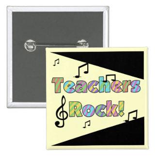 Camisetas y regalos de la roca de los profesores pin cuadrado