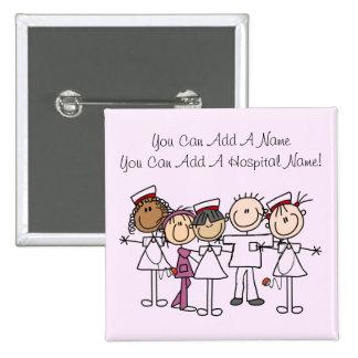 Camisetas y regalos de la semana de las enfermeras pin cuadrada 5 cm