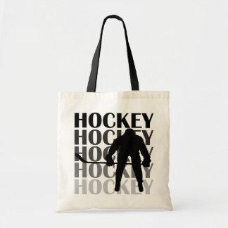 Camisetas y regalos de la silueta del hockey bolsa tela barata