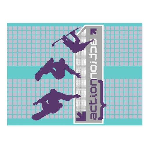 Camisetas y regalos de la snowboard de la acción postales