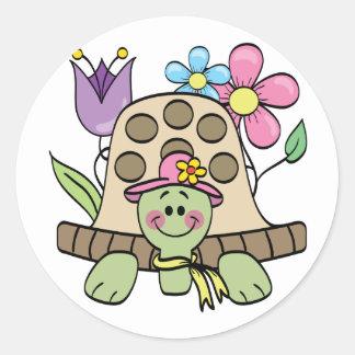 Camisetas y regalos de la tortuga de la primavera pegatina redonda