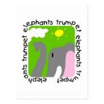 Camisetas y regalos de la trompeta de los elefante tarjetas postales